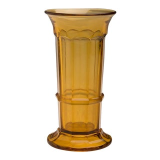 Amber Colour Pressed Glass Vase, England c.1950