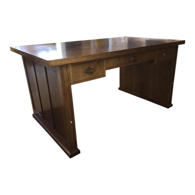 Stickley like craftsman style desk chairish for Craftsman style desk plans