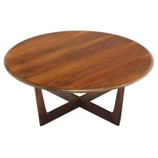 Walnut X-Base Round Coffee Table