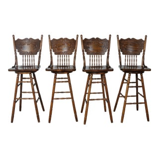 Country Style Solid Oak Bar Stools - Set of 4