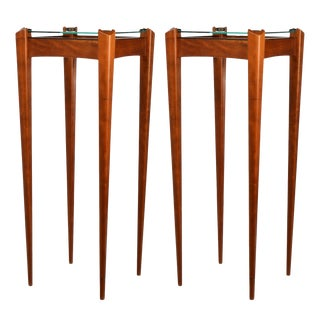 Pair of Custom-Made Wood and Glass Display Pedestals