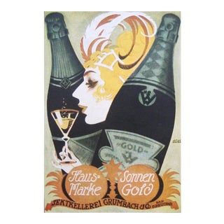 1927 German Mini Poster, Sonnen Gold Champagne