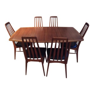 Mid-Century Danish Dining Table and Six Matching Eva Chairs by Niels Kofoed