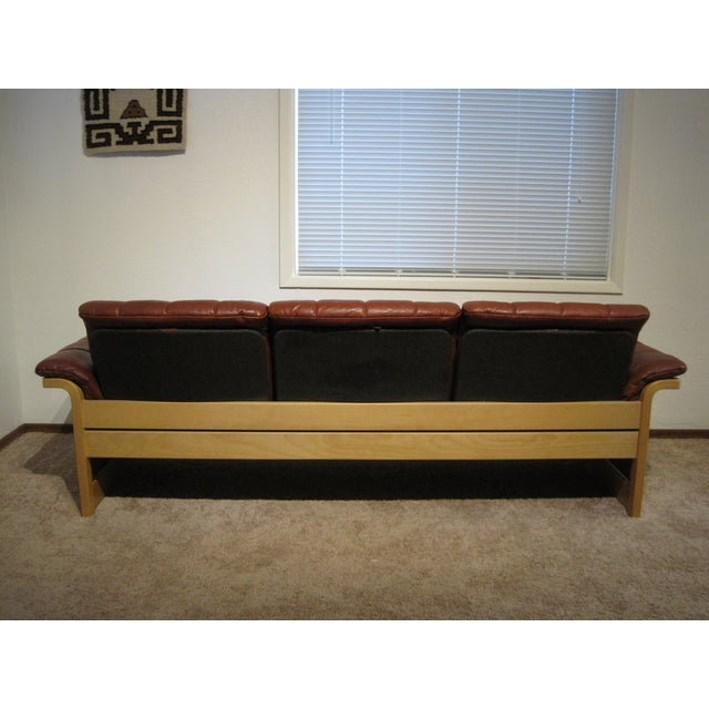 Image of Red-Brown Leather Midcentury Modern Sofa