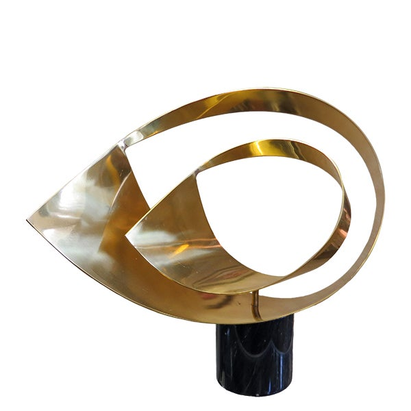 Image of Curtis Jere Ribbon Brass & Marble Sculpture