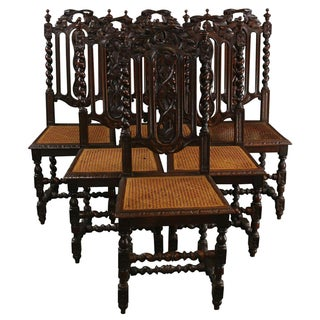 Antique French Hunting Dining Chairs - Set of 6