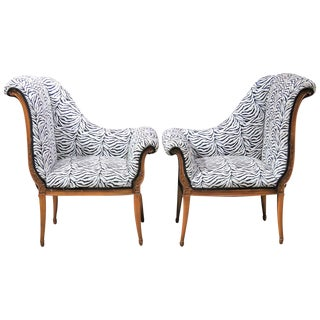 Regency Style Zebra Print Lounge Chairs - A Pair