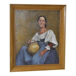 Remarkable Early 20th Century Oil Painting Woman w/ Pottery