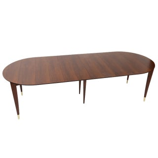 1950S GIO PONTI WALNUT AND BRASS DINING TABLE WITH FOUR LEAVES