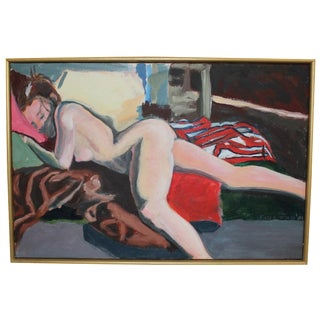 Vintage Nude, Horizontal Oil Painting on Canvas