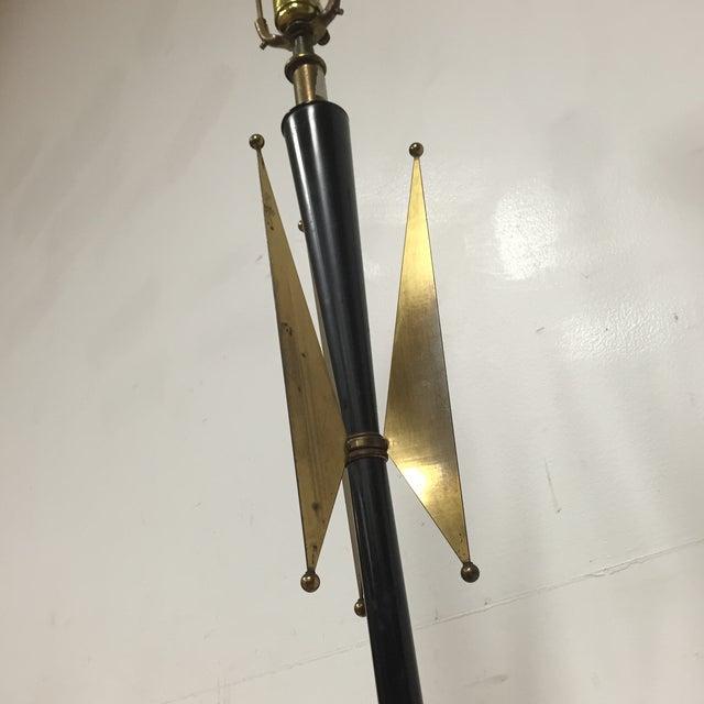 Atomic Brass & Black Floor Lamp - Image 5 of 8