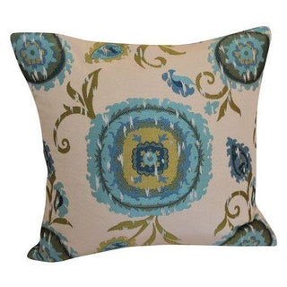 Embroidered Silk Pillow - Blue/Celery
