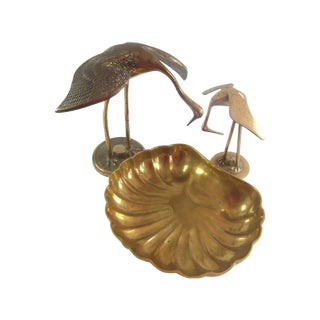 Brass Accents Trio - 2 Cranes & Shell Catchall