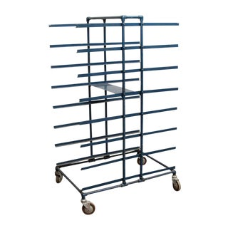 Blue Iron Cart on Wheels