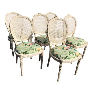 Vintage Faux Bois Dining Chairs - Set of 6