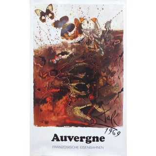 1969 French Salvador Dali Travel Poster, Auvergne
