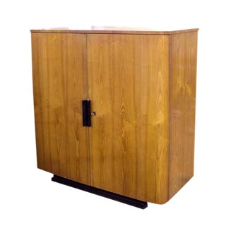 Jindrich Halabala Art Deco Ebonized Trim Oak Cabinet/Wardrobe