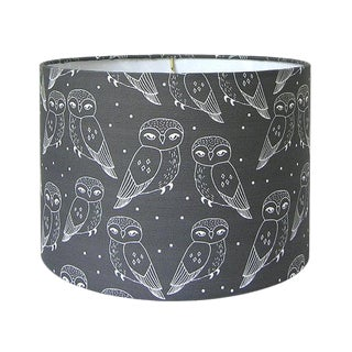 Owls Print Charcoal Drum Lamp Shade