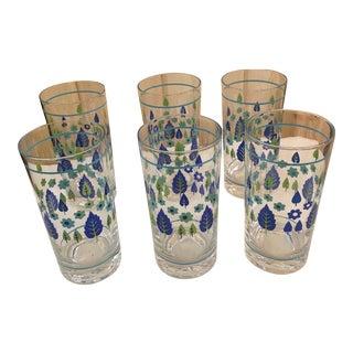 Mid-Century Modern Green & Blue Flower Motif Glasses - 6
