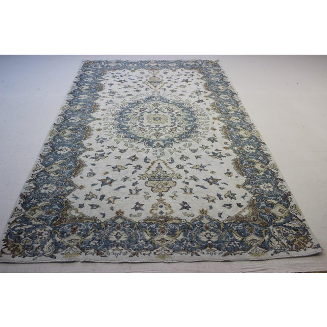 "Blue Cream Turkish Overdyed Rug - 6'1"" X 10' - Image 8 of 9"