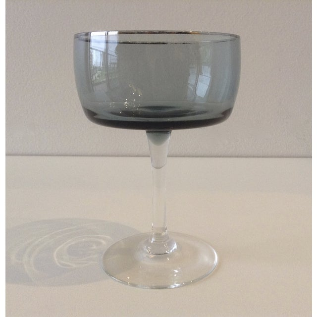 Image of Silver Rimmed Smoke Blue Champagne Coupes - S/4