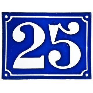 "Vintage French ""25"" Enamel House Number"