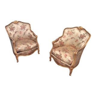 Louis XV Style Bergere Boudoir Chairs - a Pair
