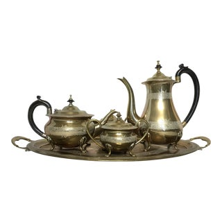 Engraved Brass Tea Service - Set of 5