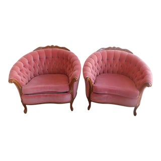 Vintage French Provincial Velvet Tub Chairs - A Pair