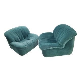 Vintage Deep Green Slipper Chairs - A Pair