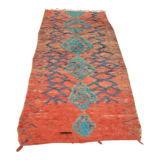 Moroccan Orange & Blue Wool Rug- 4′ × 9′6″