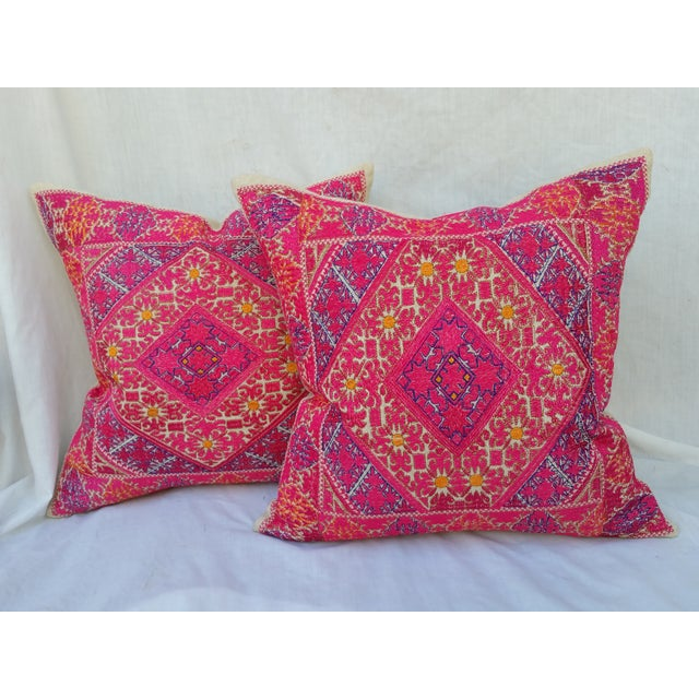 Embroidered Silk Linen Pillow - Pair - Image 2 of 5