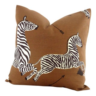 "20"" x 20"" Brown Scalamandre Zebra Decorative Pillow Cover"