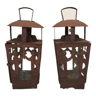 Ornate Indian Pillar Candle Lanterns - a Pair