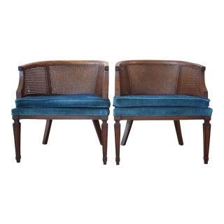 1960s Cane Back Club Chairs - A Pair