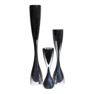 Collection of Nambe Silver Metal Alloy Candleholders