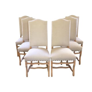 Os d'Mouton Set of Six Bleached Dining Chairs, France, 1920s