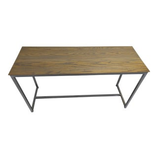 Oak Wood Top & Metal Base Console
