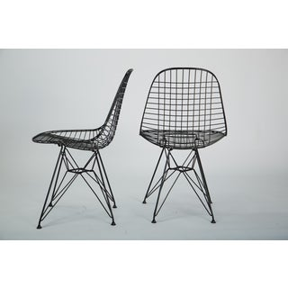 Pair of Eames Wire Chairs DKR Eiffel Tower Base