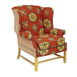Wingback Chair in Orange Batik Cotton Fabric