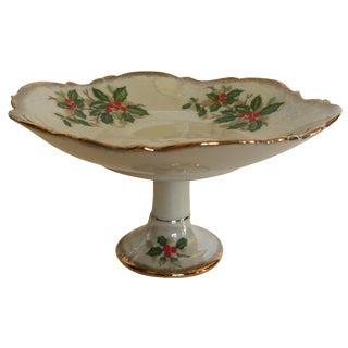 Vintage Christmas Holly Pedestal Dish