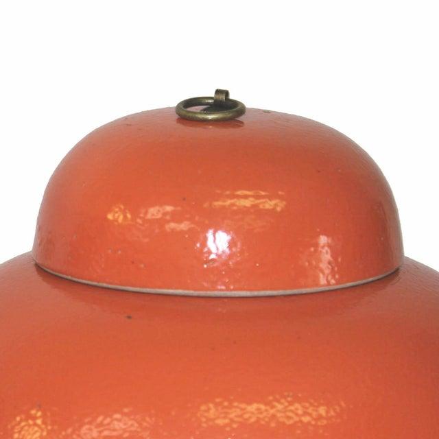 Orange Ginger Jars - a Pair - Image 3 of 3
