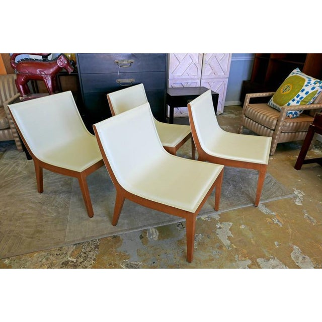 White Italian Leather Chairs & Maple Coffee Table - Set of 5 - Image 8 of 10