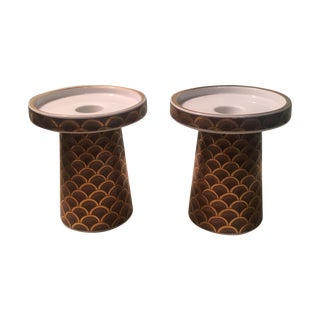 Porcelain Gilt Scale Candleholder - Pair
