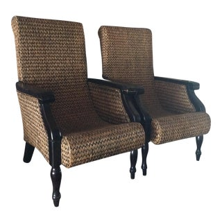 Light Woven Dark Wood Arm Chairs - Pair