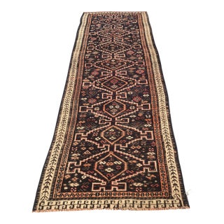 "Antique Kurdish Runner Wool Rug - 3'2""x9'3"""