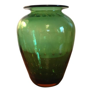 Green Blenko Glass Controlled Bubble Vase