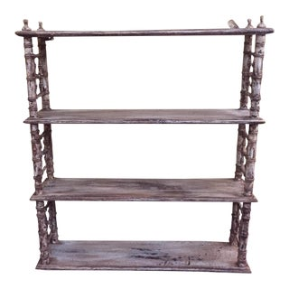 Painted Faux Bamboo Shelving Unit