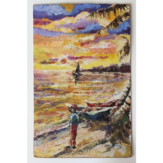 Errol Allen 1986 Jamaican Coastal Scene Painting - Image 2 of 5