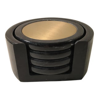 Black Marble Coasters With Case - Set of 4